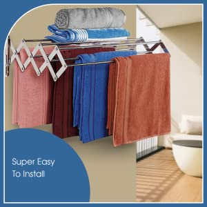 LIVINGBASICS 9 ROD Rust free Stainless Steel Wall Mounted Clothes Drying Stand Racks SPN-FOR1