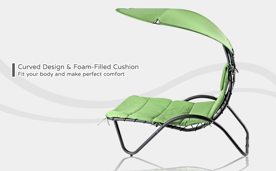 Patio Hammock Lounger Water proof Canopy Stand Ergonomic Garden Chaise Porch Poolside Chair Cushion