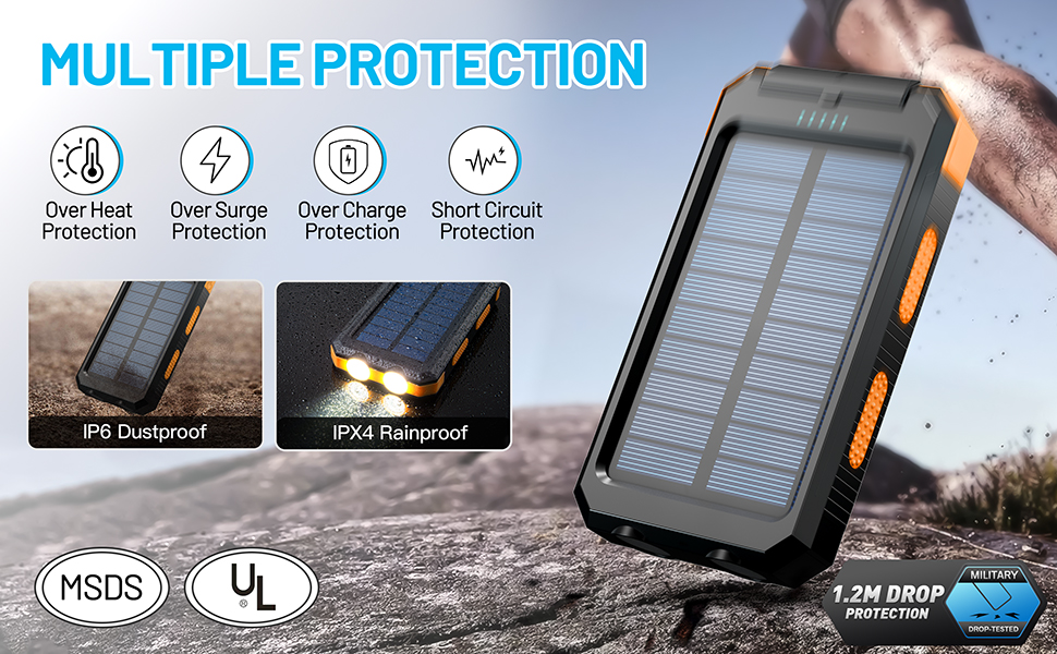 rugged portable solar power panel battery charger powered phone chargers iphone waterproof camping