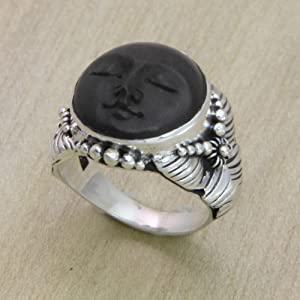 NOVICA,Silver,Wood,Ring,Handmade,Black,Metal,Jewelry,Women,Band,Round,Gift,Face,Crown,Durable,Girls