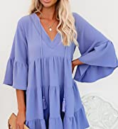 BLENCOT Womens Casual Tunic Dress Short Sleeve V Neck Loose Flowy Swing Shift Dresses