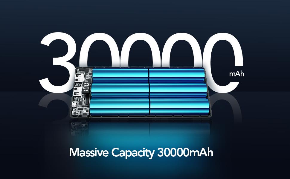 Massive 30000mAh Capacity