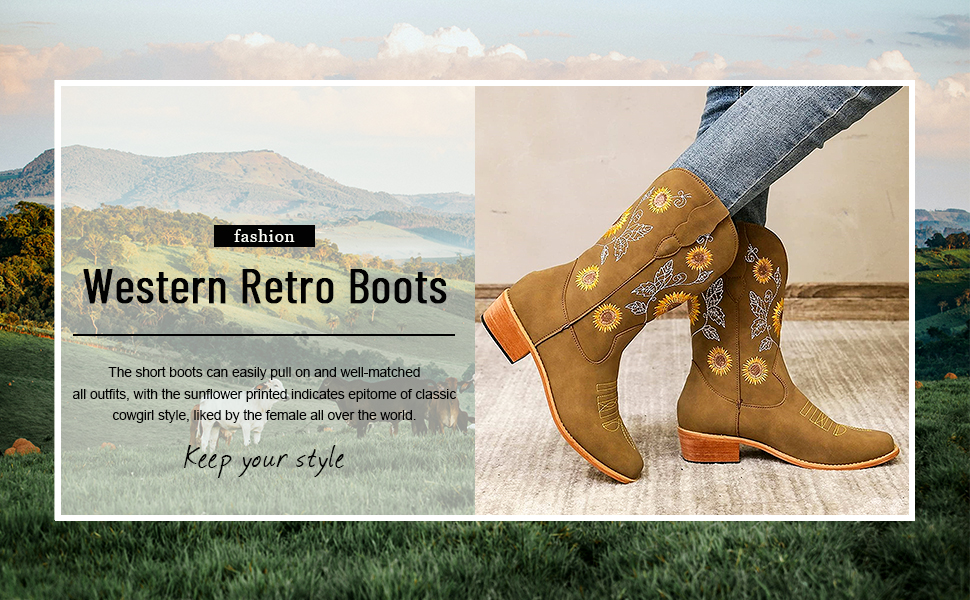 women cowgirl cowboy boots for women retro western boots sunflowers embroidery mid western boots