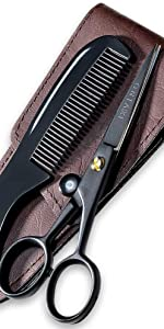 German Beard Mustache Scissors Comb & Carrying Pouch Hand Forged With Bevel Edge For Precision