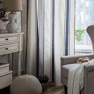 Blue Stripe WIndow Curtain Panel