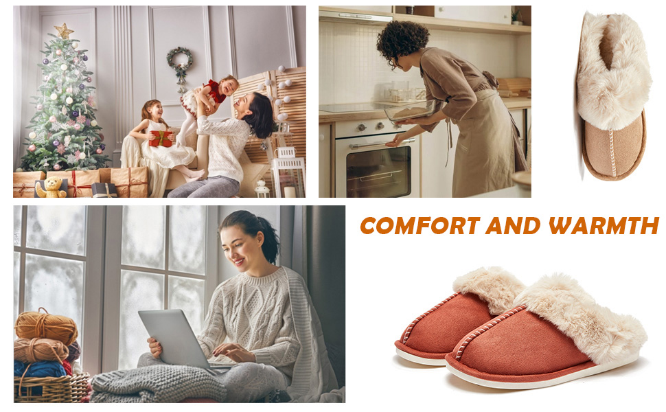 Slip on Fuzzy House Slippers for Women Men with Memory Foam Warm Cozy Non-Slip Home Shoes