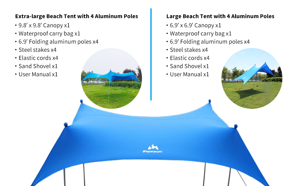 specification for Flamount beach canopy tent