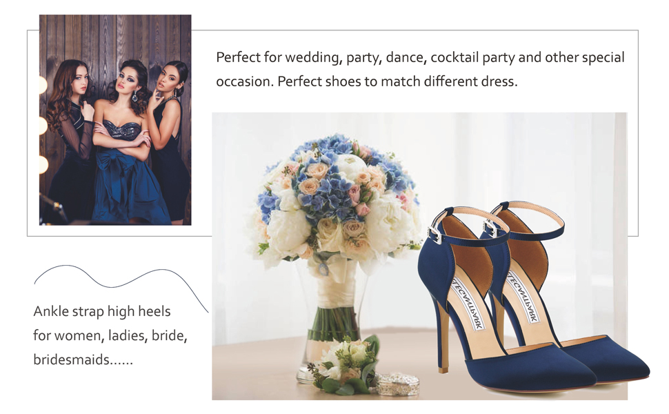 Wedding Shoes For Bride High Heels for women blue pumps dress evening party shoes