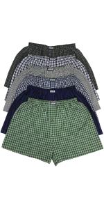 men's pack of six tartan plaid boxers