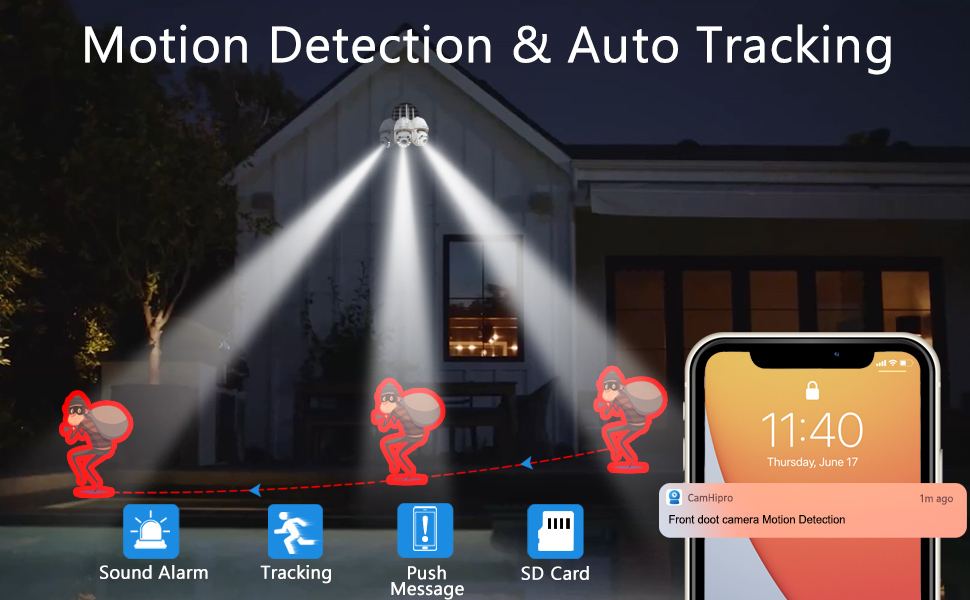home secuirty camera outdoor motion detection and auto tracking