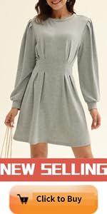 Womens Round Neck Pleated Aline Dress
