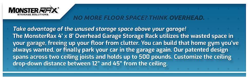 monsterrax, overhead, garage, storage, racks, ceiling, mounted,