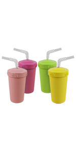 bright pink blush yellow lime cups with straw and lid