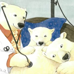 Illustration of two polar bears and a doctor with a stethoscope pressed to the mommy bear's belly.