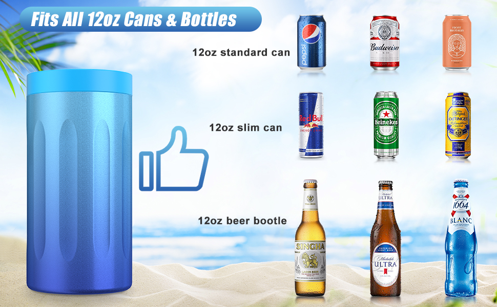 Fits All 12oz cans and 12oz bottles