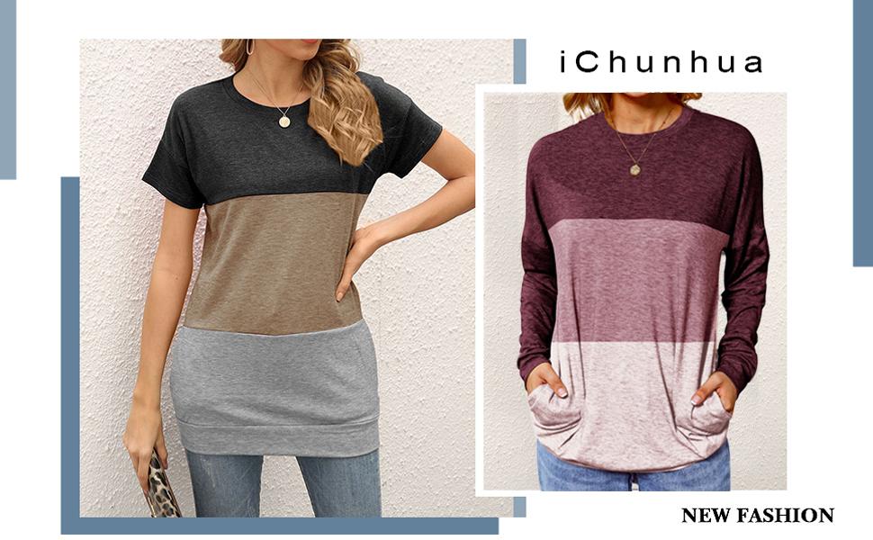 long tops color block tshirt
