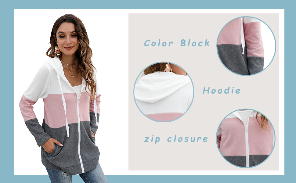 Delicate Details:color block ,hoodie ,zip closure