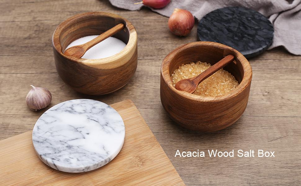 Acacia Wood Salt Box