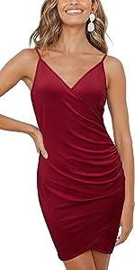 KILIG Womens Deep V Neck Bodycon Spaghetti Straps Party Dress