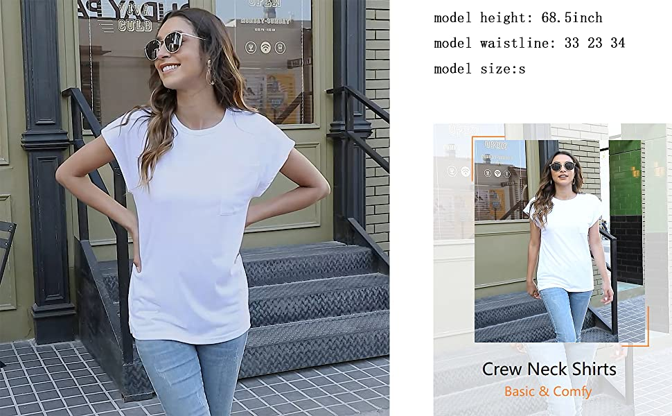 WMZCYXY Women's Summer Sleeveless Crew Neck T Shirts Tops Casual Loose Fitting Tee with Pocket