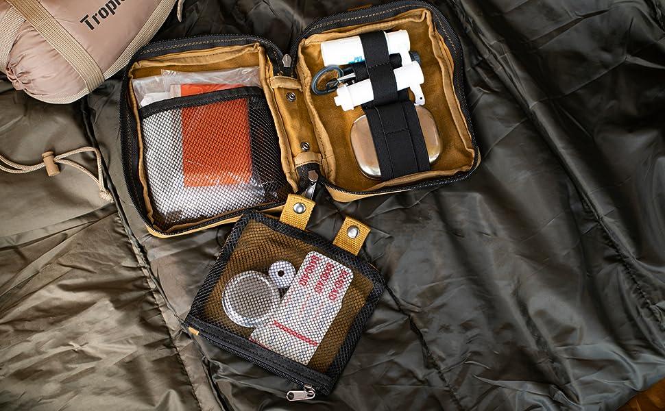 asobito(アソビト) ファーストエイドポーチ オリーブ 防水 頑丈 綿帆布 緊急 応急処置 アウトドア キャンプ