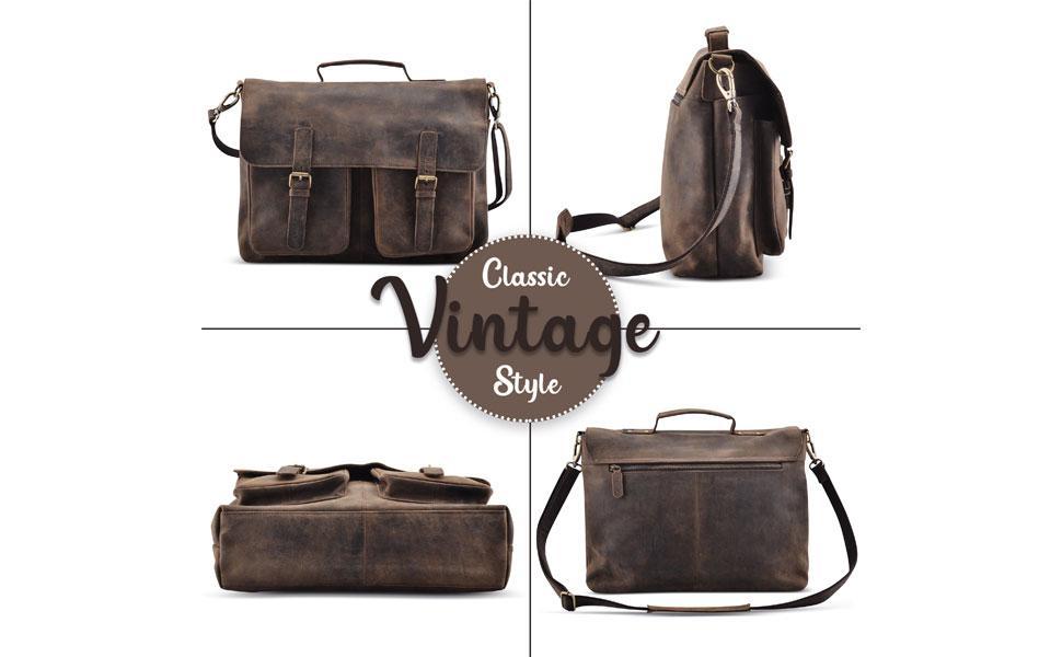18 Inch Leather briefcases Laptop Messenger Men and Women Best Office School College Satchel Bag