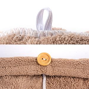 Elastic loop and button hair towel to secure aboid falling or dripping