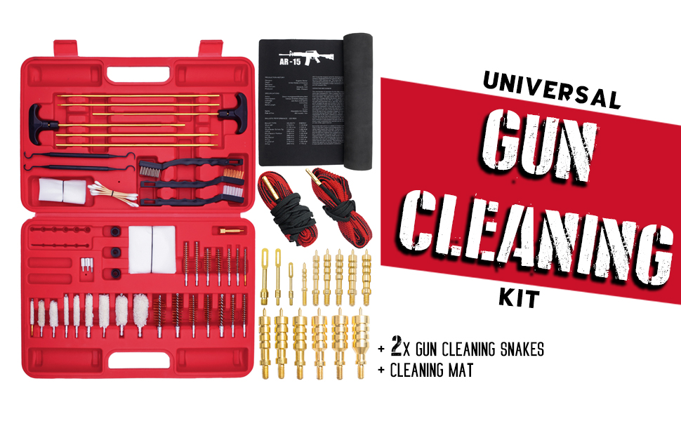 Universal Gun Cleaning Kit, with two gun cleaning snakes and cleaning mat .