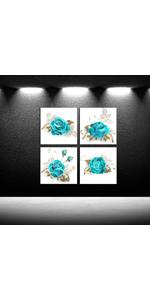 4 pieces canvas prints Turquoise and White Flower Wall Hangings Canvases Flower Wall