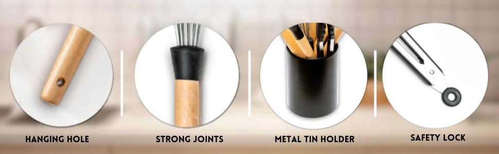 hanging hole silicone kitchen utensils