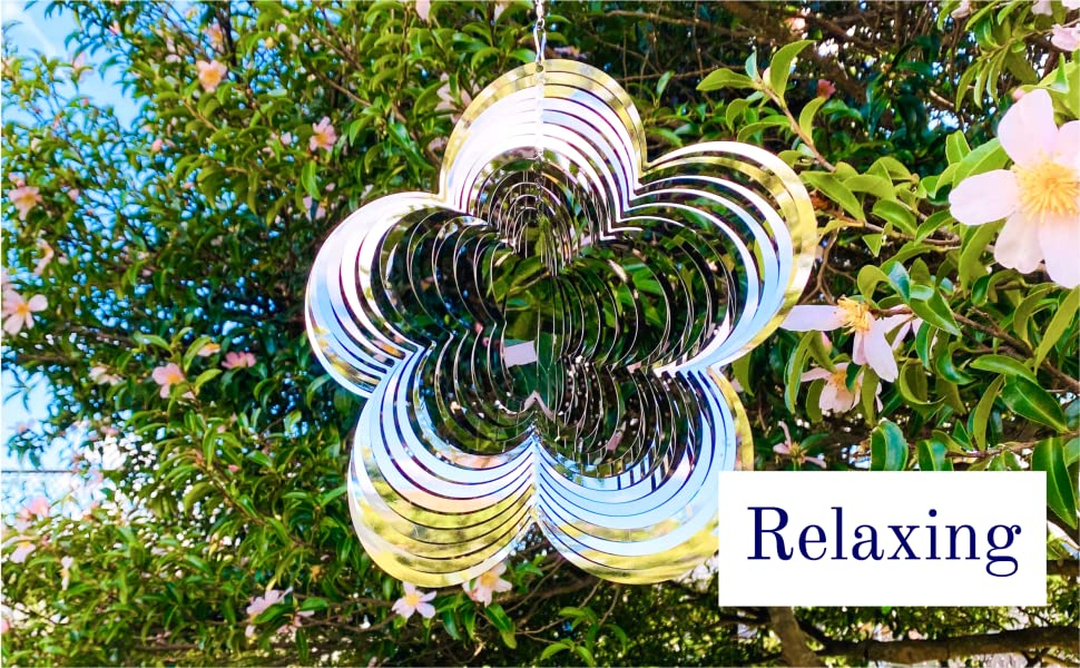 Relaxing stainless steel flower wind spinner with mirror finish spinning outdoor 3d metal yard art