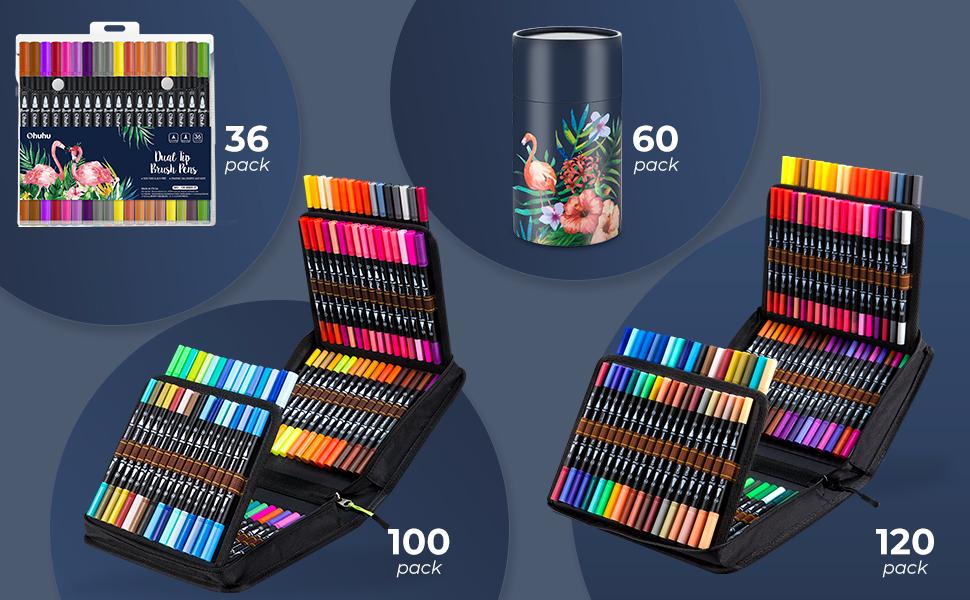 100 crayons colorés.