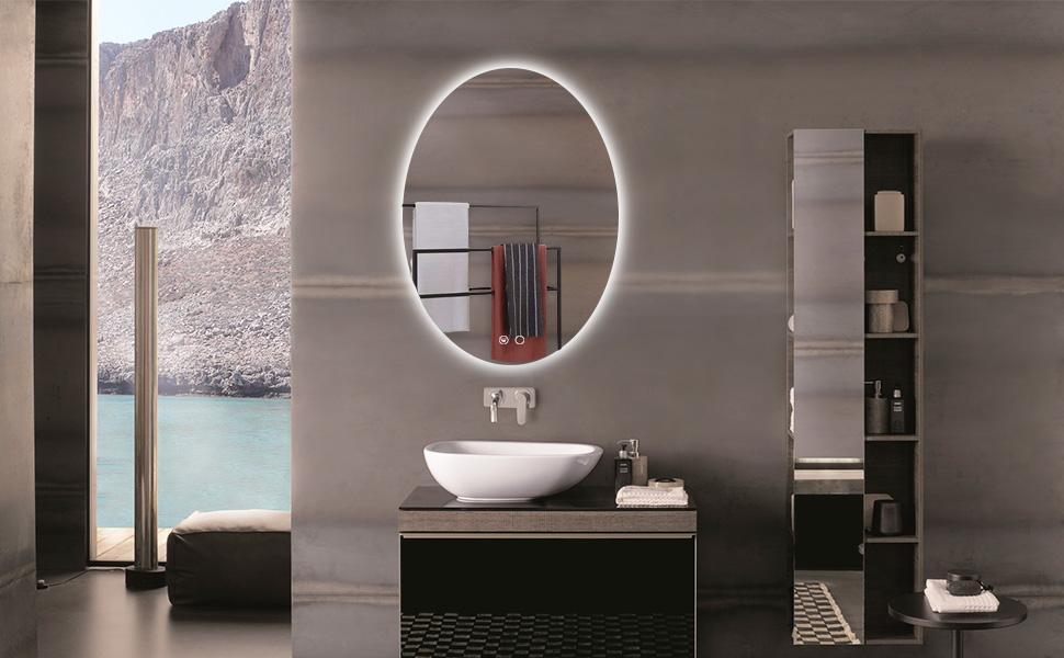 led oval backlit mirror