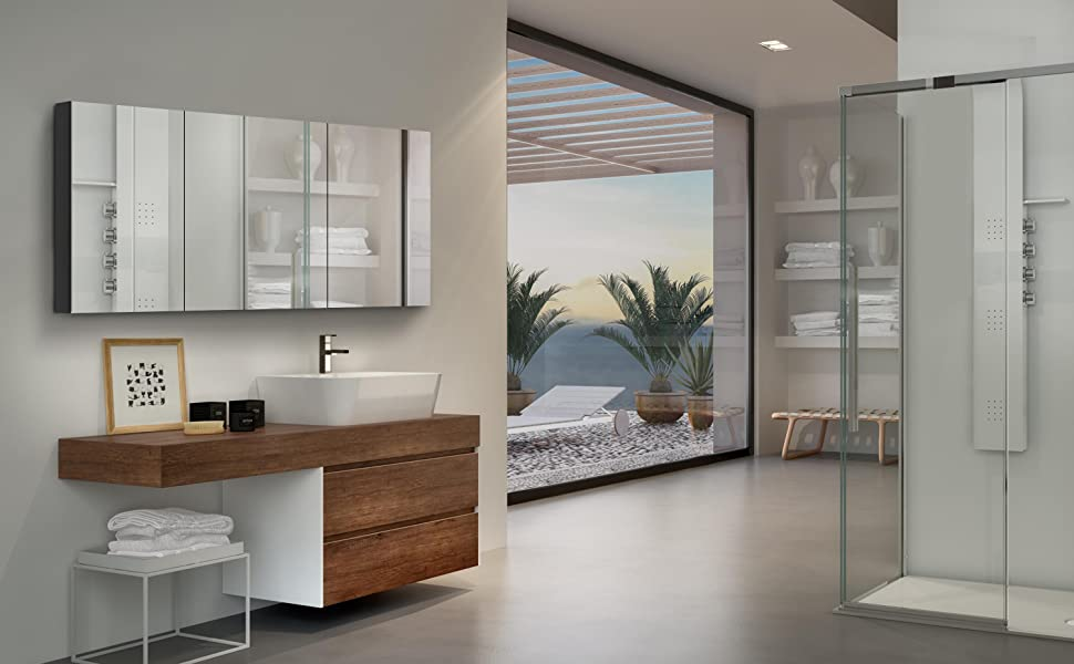 B&C 20x30 inch  Aluminum frame Storage mirror cabinet with double-side mirror door for Bathroom