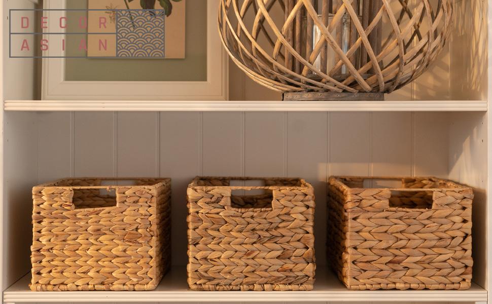Caisse rectangulaire tressée en jacinthe d'eau