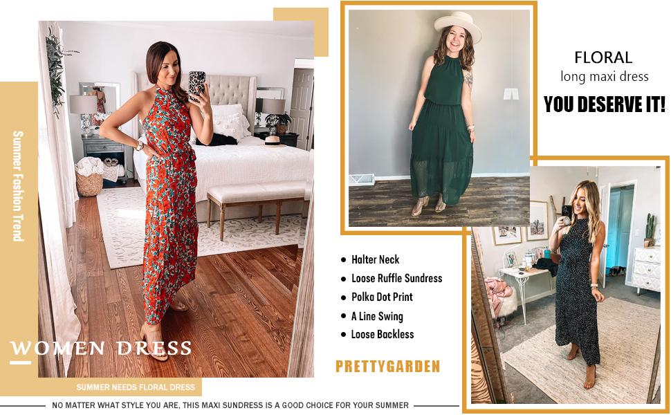 Amazon.com: PRETTYGARDEN Women's Casual Halter Neck Sleeveless Floral Long Maxi Dress Backless Loose Ruffle Sundress with Belt: Clothing