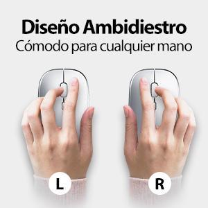 ratón inalámbrico simétrico para ambas manos ratón inalámbrico silencioso cómodo para pc
