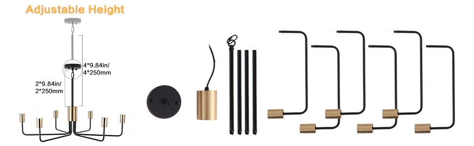 adjustable  6-Light Gold and  Black Chandelier