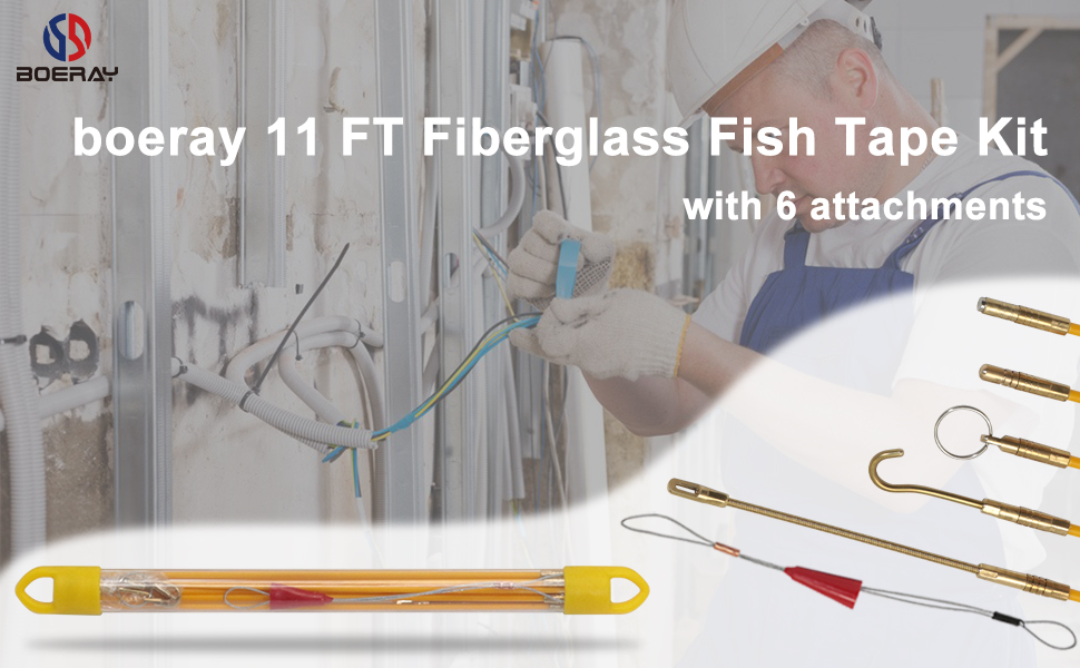 Fiberglass Running Electrical Wire Cable Pulling Fish Tape Kit with 5 Different Attachments