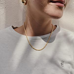 gold rope chain necklace twisted silver Shining Diamond-Cut Braided Rope