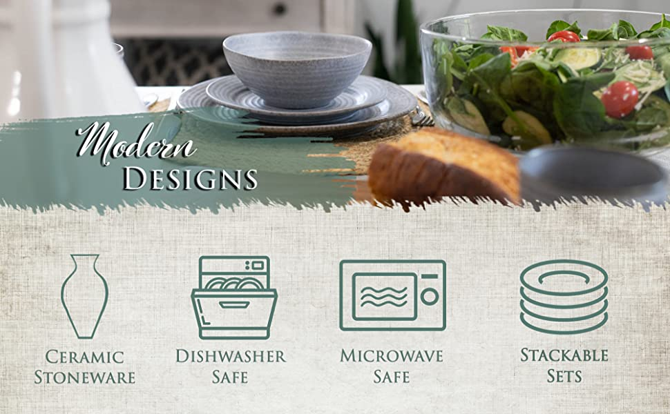 Dishwasher safe dish sets that are also microwave save and made of ceramic stoneware