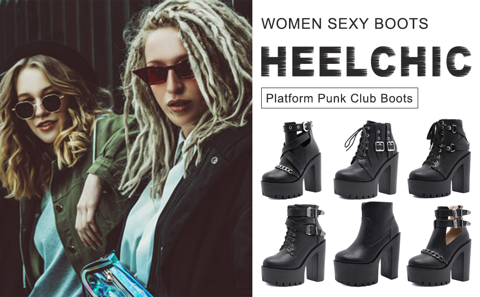 Women's Sexy Chunky Block High Heeled Platform Boots Ladies Punk Club Dress Ankle Boots