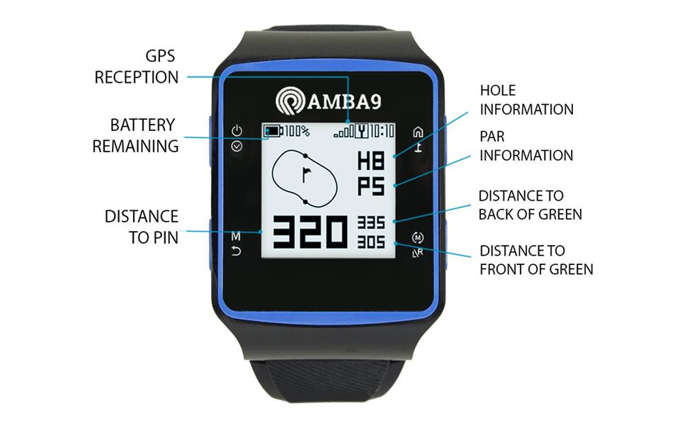 AMBA9 GOLF GPS WATCH HOLE PAR INFORMATION DISTANCE TO PIN BACK FRONT GREEN