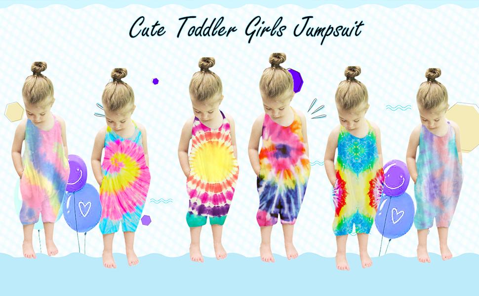 tie dye baby girls rompers