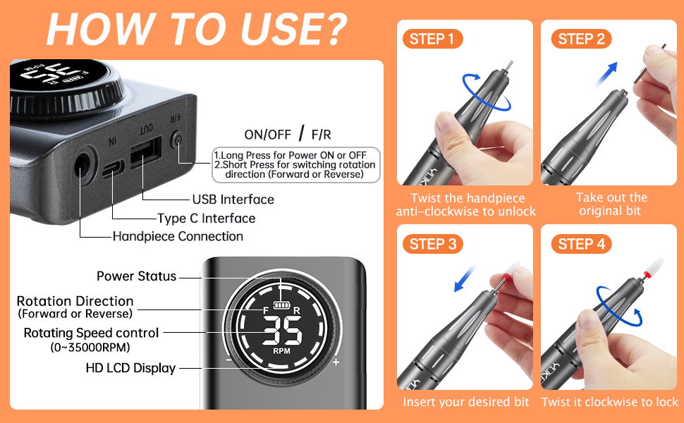how to use this nail drill?
