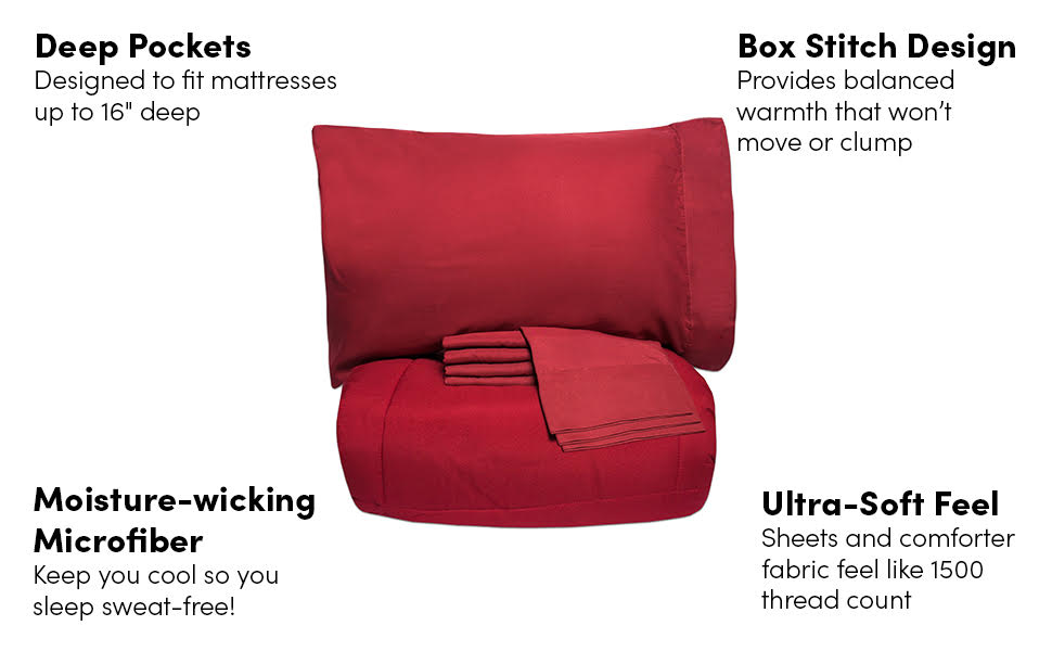 Box stitching keeps the fill in place, Moisture Wicking, Ultra Soft Microfiber