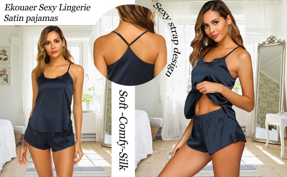 Ekouaer Sleepwear Womens Sexy Pajamas Set Silk Lingerie 2 Piece Satin Cami Shorts Set