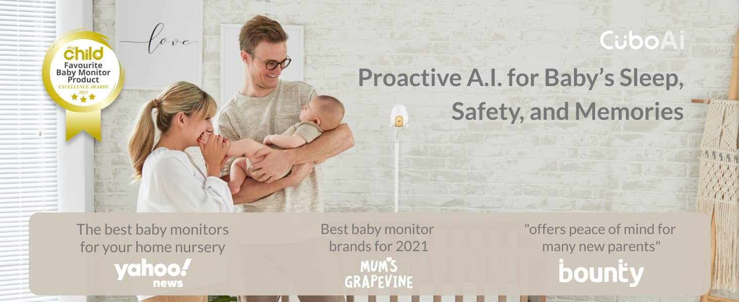 Cubo Ai Plus Smart Baby Monitor Proactive A.I. for Baby's Sleep, Safety, and Memories
