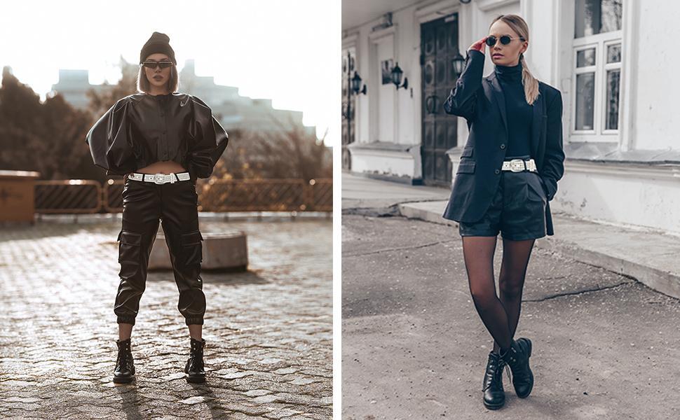 Women White Jeans Belt Punk Studded Thin Fashion Ladies Faux Leather Belts
