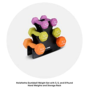 HolaHatha Dumbbell Weight Set w/ 3, 5 and 8 Pound Hand Weights and Storage Rack